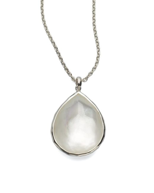 Ippolita Metallic Wonderland Mother-of-pearl, Clear Quartz & Sterling Silver Large Teardrop Doublet Pendant Necklace