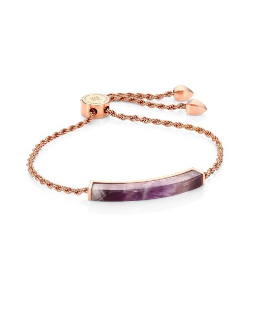 Monica Vinader - Multicolor Linear Amethyst Chain Friendship Bracelet - Lyst