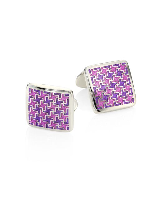 David Donahue - Pink Sterling Silver Houndstooth Cuff Link for Men - Lyst
