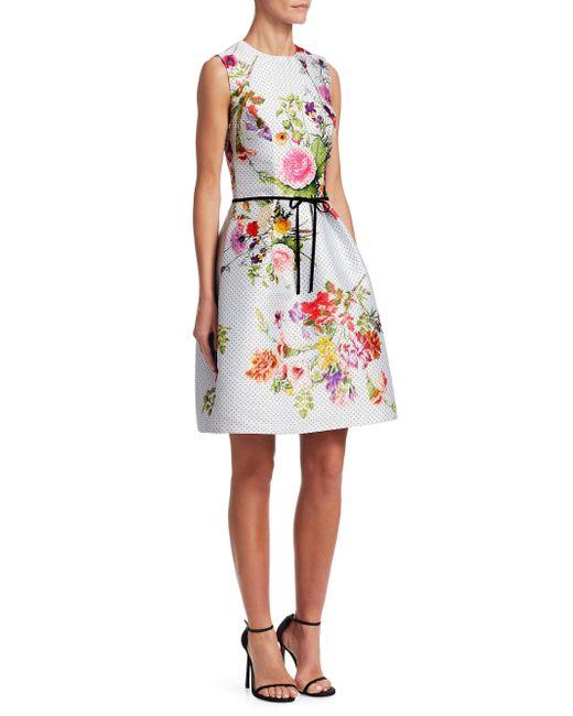 Monique Lhuillier - Multicolor Dotted Bouquet Sleeveless Dress - Lyst