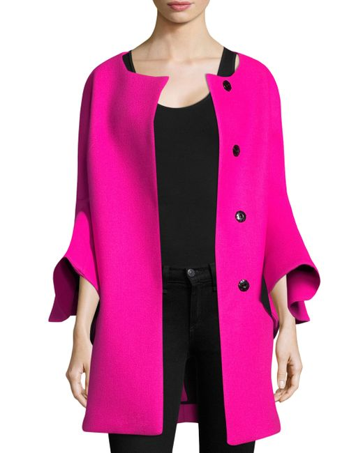 MILLY | Pink Melton Bonded Flare Sleeve Tie Coat | Lyst