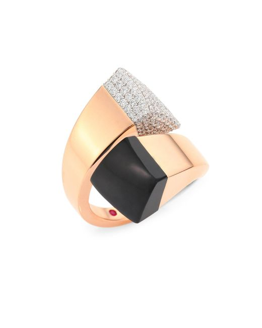 Roberto Coin - Metallic Prive Pave Diamond, Black Jade & 18k Rose Gold Bypass Ring - Lyst