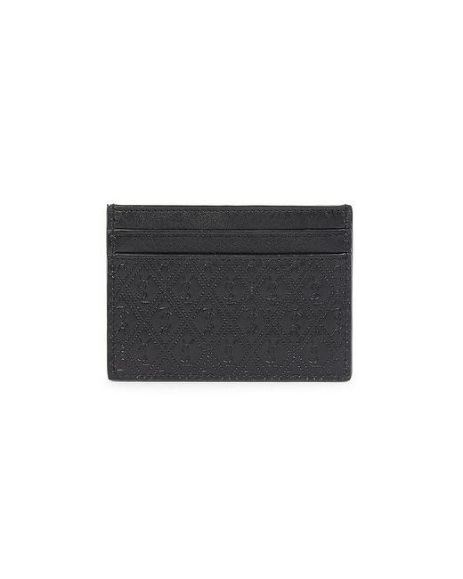Saint Laurent Black Embossed Logo Leather Card Holder for men