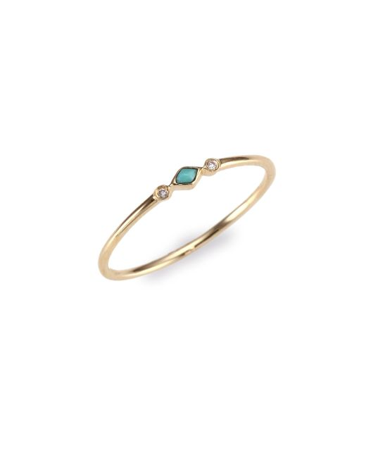 Sydney Evan - Metallic Diamond & Turquoise Ring - Lyst