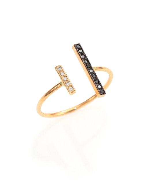 Zoe Chicco   Metallic Black/white Diamond & 14k Yellow Gold Mixed Bar Open Ring   Lyst