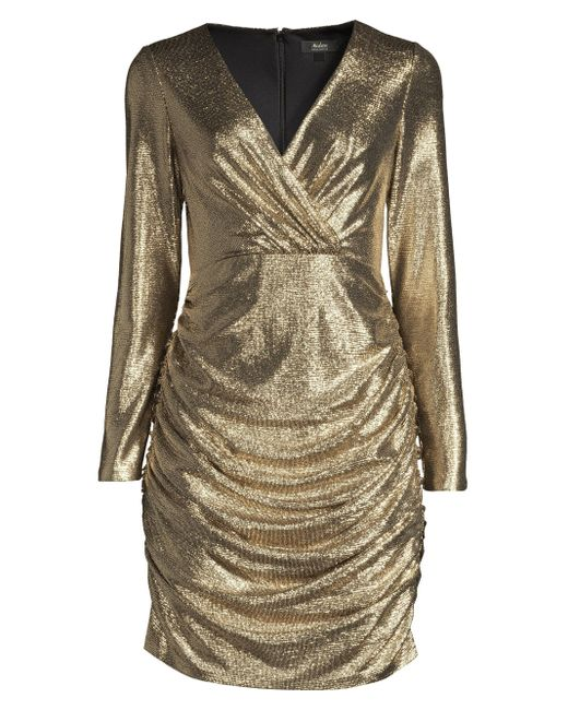 Aidan By Aidan Mattox Metallic Foiled Jersey Cocktail Dress