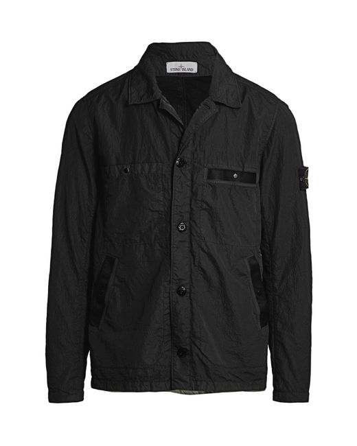 Stone Island Black Water-resistant Collared Jacket for men