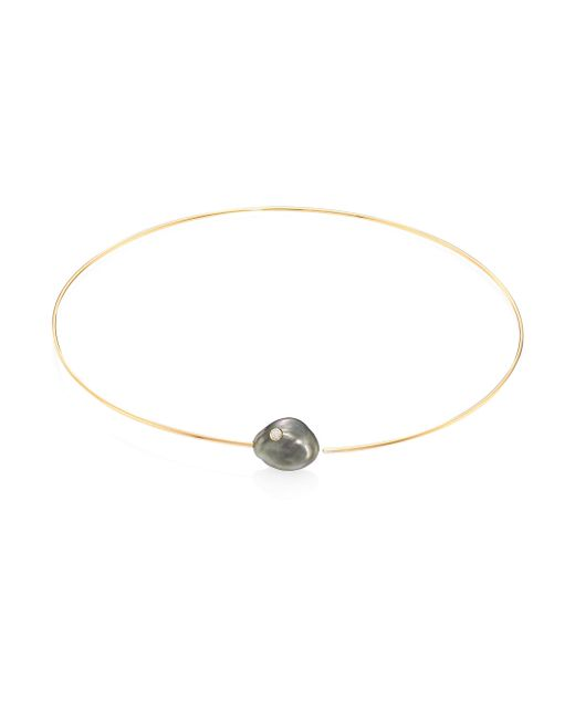 Mizuki - Metallic Diamond, 14mm White Baroque Tahitian Pearl & 14k Yellow Gold Collar Necklace - Lyst