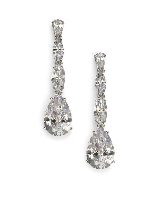 Adriana Orsini - Metallic Sterling Silver Pear Drop Linear Earrings - Lyst