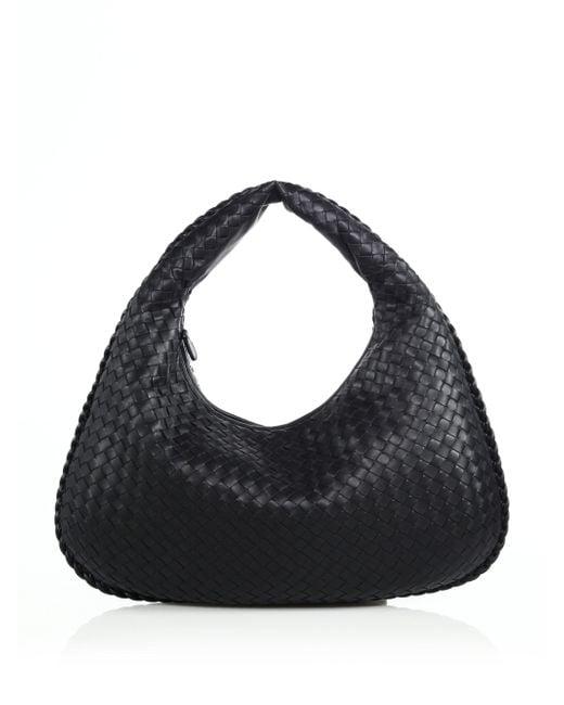 Bottega Veneta - Black Veneta Medium Hobo Bag - Lyst