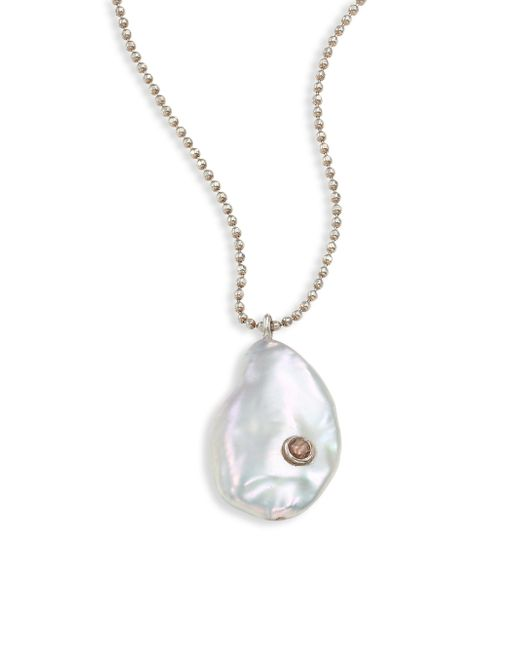Chan Luu - Multicolor White Keishi Pearl, Diamond & Sterling Silver Pendant Necklace - Lyst