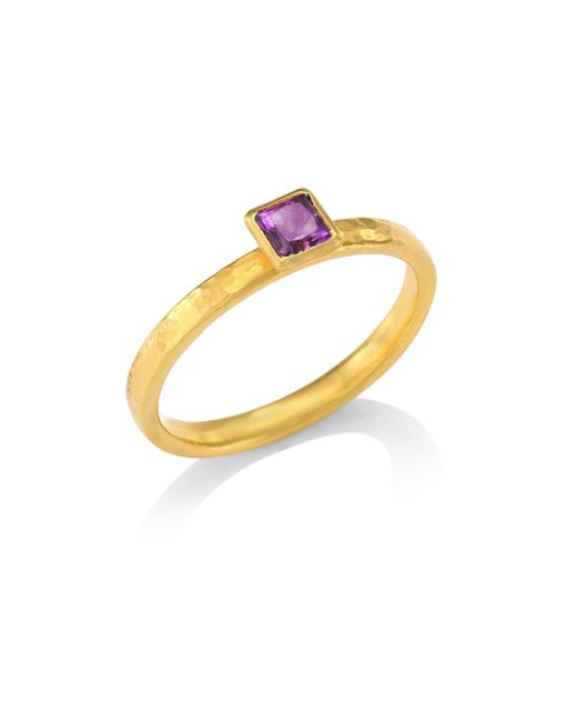 Gurhan | Metallic Delicate Hue Square Amethyst Stacking Ring | Lyst