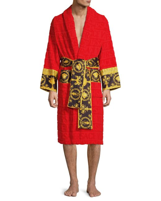 Versace Red Barocco Printed Bathrobe By for men