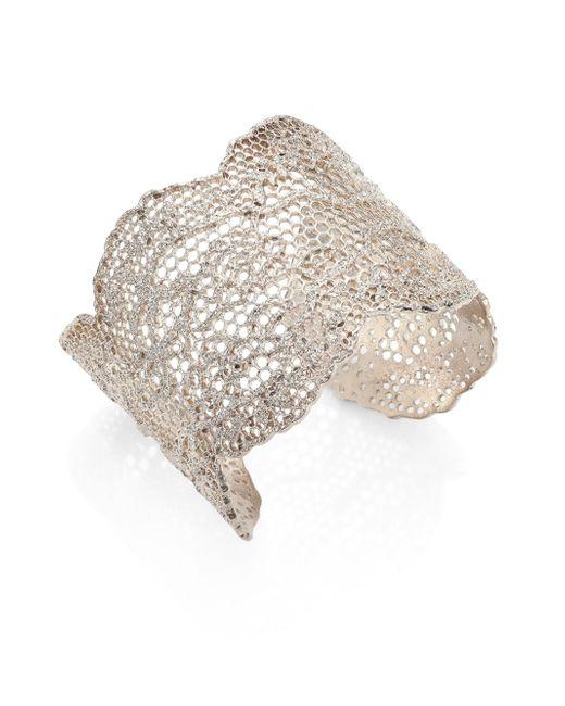 Aurelie Bidermann | Metallic Vintage Lace Cuff Bracelet | Lyst