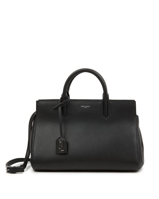 Saint Laurent Black Small Cabas Monogram Leather Shoulder Bag