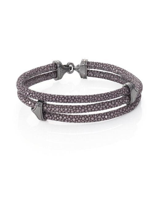 Stinghd - Men's Blackened Silver & Stingray Triangle Wrap Bracelet - Red for Men - Lyst