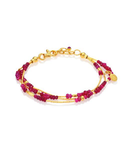 Gurhan - Metallic Delicate Rain Ruby & 24k Yellow Gold Triple-strand Bracelet - Lyst