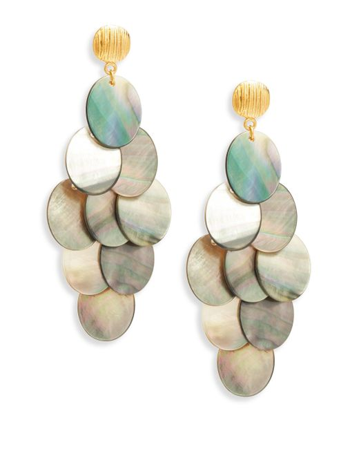 Nest - Gray Statement Grey Mother-of-pearl Chandelier Earrings - Lyst