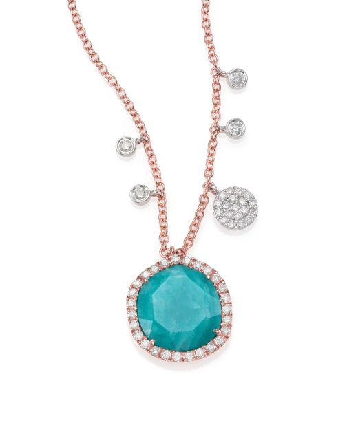 Meira T | Blue Amazonite, Diamond & 14k Rose Gold Pendant Necklace | Lyst
