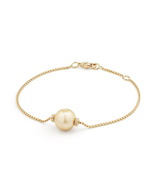 David Yurman - Metallic Solari Single Station Bracelet In 18k Gold With Diamonds And Tahitian Grey Pearl - Lyst