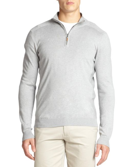 Saks Fifth Avenue - Gray Silk-blend Quarter-zip Sweater for Men - Lyst