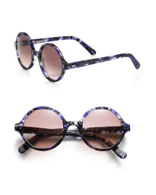 Cutler & Gross - Purple 52mm Marbleized Round Sunglasses - Lyst