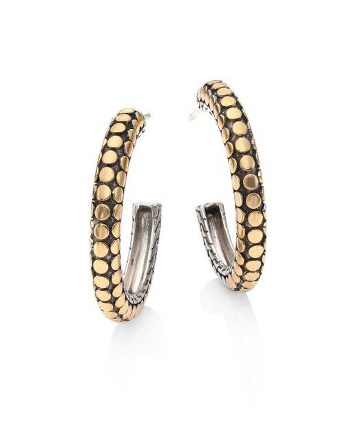 John Hardy | Metallic Dot 18k Yellow Gold & Sterling Silver Hoop Earrings/1 | Lyst