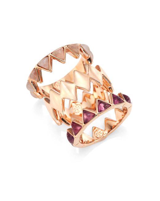 Tory Burch | Metallic Puzzle Amethyst & Rose Quartz Rings | Lyst