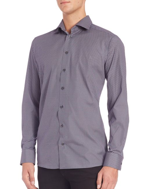Eton of Sweden - Purple Contemporary-fit Diamond-print Sportshirt for Men - Lyst