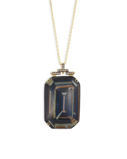 Silvia Furmanovich - Marquetry Light Brown Diamonds, Blue Sapphire & 18k Yellow Gold Pendant Necklace - Lyst