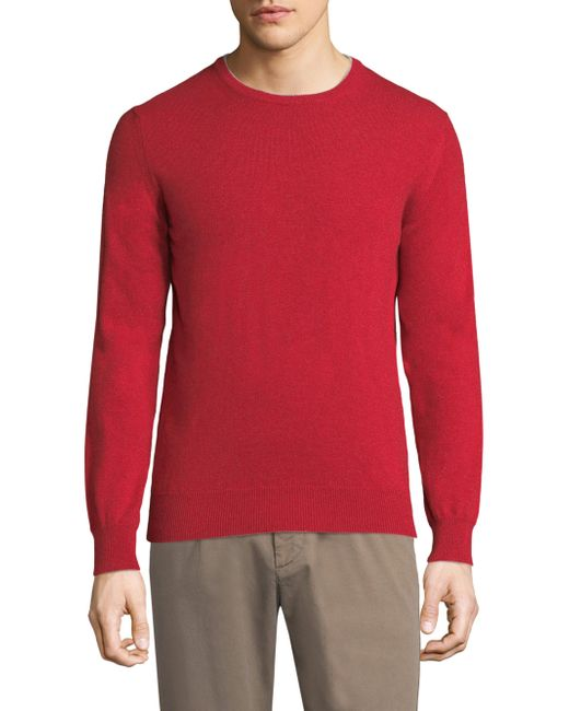 Eleventy - Red Crew Cashmere Sweater for Men - Lyst