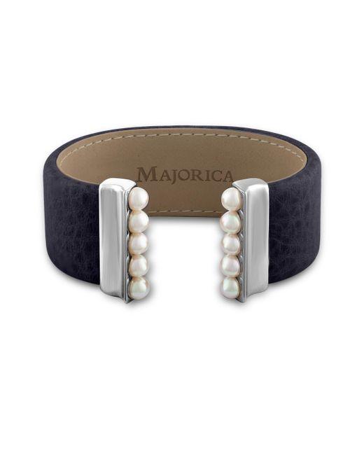 Majorica   Blue New Isla 5mm Organic Pearl & Leather Open Bangle/navy   Lyst