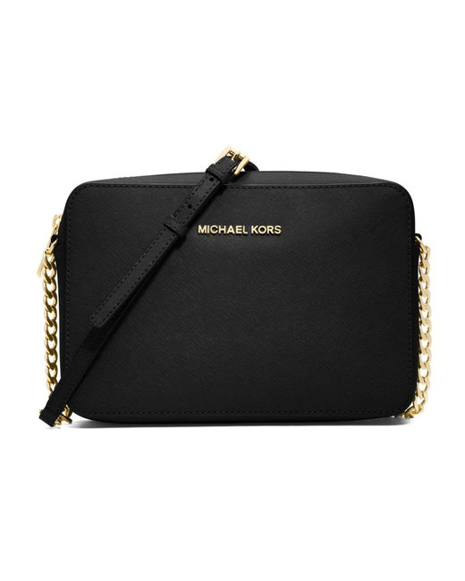 MICHAEL Michael Kors Black Jet Set Large Textured Leather Crossbody Bag