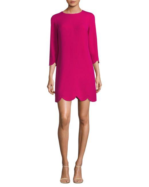 Shoshanna - Pink Scalloped Hem Dress - Lyst