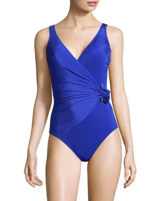 Gottex   Blue Grace Kelly Surplice Swimsuit   Lyst