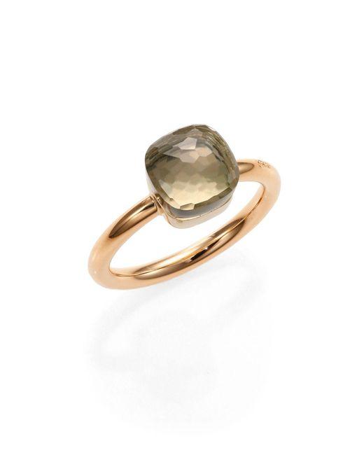Pomellato Metallic Nudo 18k Rose Gold & Prasiolite Petite Square Ring