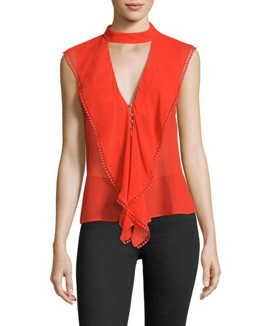 Nicholas | Red Ruffled Silk Georgette Choker Top | Lyst