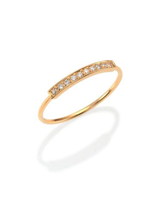 Zoe Chicco - Metallic Pavé Diamond & 14k Yellow Gold Horizontal Bar Ring - Lyst