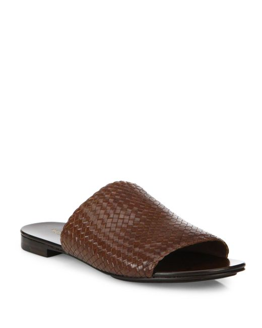 Michael Kors - Brown Byrne Woven Leather Slides - Lyst