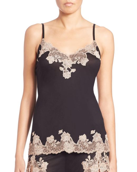Josie Natori - Black Charlize Lace Embroidered Cami - Lyst