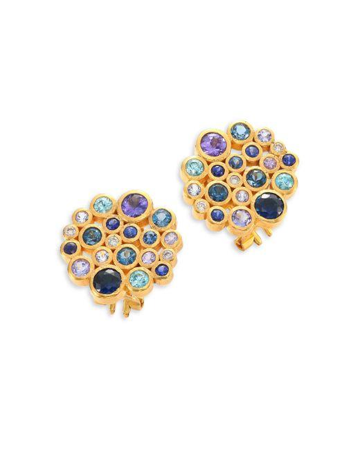 Gurhan - Metallic Pointelle Diamond, Multi-stone & 24k Yellow Gold Stud Earrings - Lyst