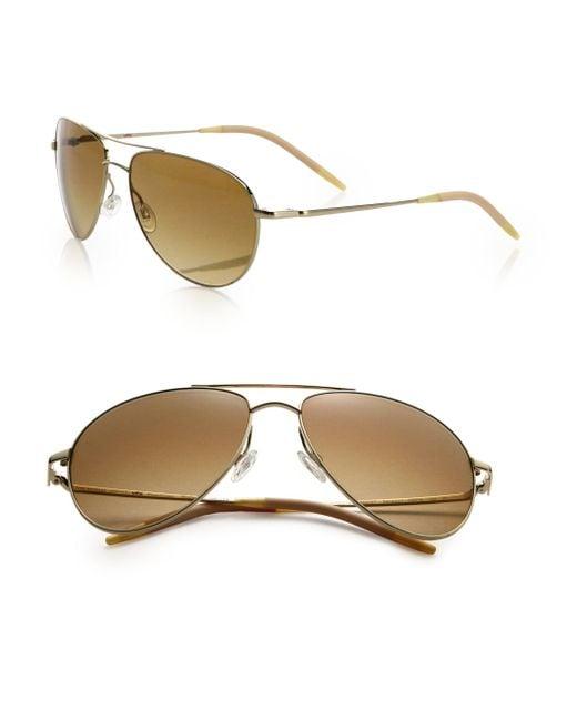 Oliver Peoples - Metallic Benedict 59mm Aviator Sunglasses - Lyst
