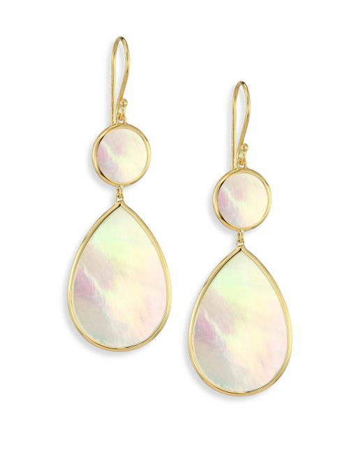 Ippolita | Metallic Polished Rock Candy Mother-of-pearl & 18k Yellow Gold Snowman Drop Earrings | Lyst