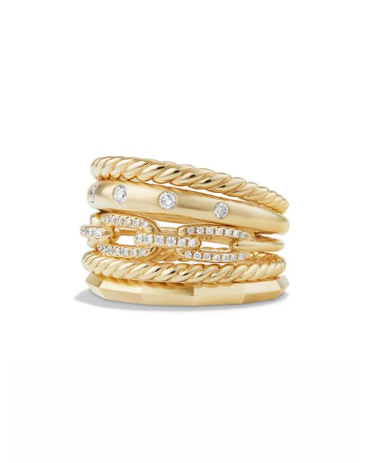 David Yurman - Metallic Stax Wide Ring With Diamonds In 18k Yellow Gold - Lyst
