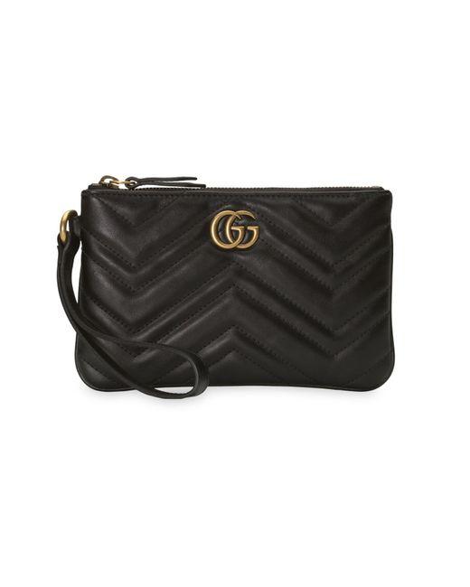 Gucci Black GG Marmont Wrist Wallet