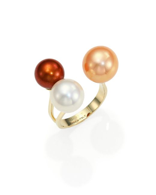 Delfina Delettrez - Yellow Never Too Light 9mm-11mm Tricolor Round Pearl Ring - Lyst
