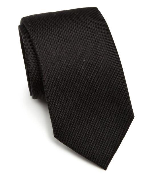 Saks Fifth Avenue   Black Solid Silk Tie for Men   Lyst