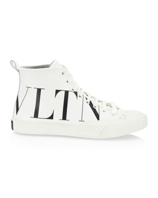 Valentino White Valentino Garavani High-top Canvas Trainer With Vltn Logo for men
