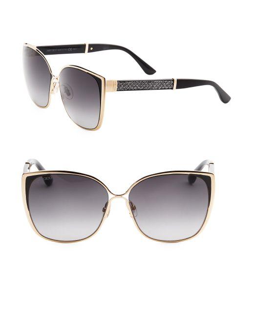 Jimmy Choo - Black Maty 58mm Square Sunglasses - Lyst