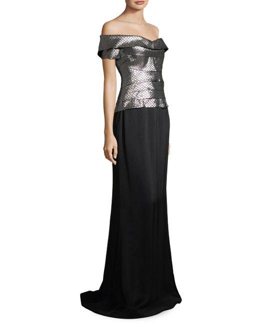 Rene Ruiz - Black Metallic Tiered Bodice Gown - Lyst